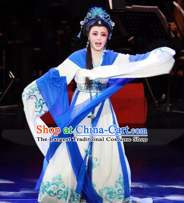 Chinese Shaoxing Opera Hua Tan Dress Apparels Costumes and Headpieces The Desolate Palace of Liao Yue Opera Empress Xiao Guanyin Garment