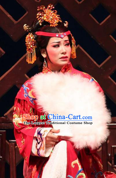 Feng Jie Chinese Shaoxing Opera Noble Mistress Wang Xifeng Red Dress Apparels and Headpieces Yue Opera Hua Tan Costumes Garment