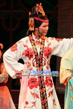 Feng Jie Chinese Shaoxing Opera Noble Lady Wang Xifeng Apparels and Headdress Yue Opera Hua Tan Costumes Actress Dress Young Mistress Garment