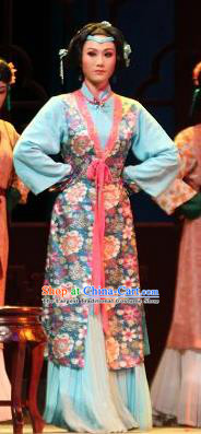 Chinese Shaoxing Opera Feng Jie Noble Consort Apparels and Headpiece Yue Opera Xiaodan Costumes Servant Woman Qiu Tong Dress Garment