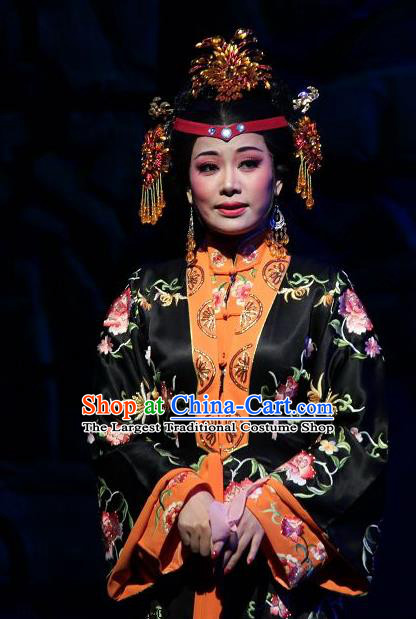 Chinese Shaoxing Opera Feng Jie Noble Dame Wang Xifeng Apparels Costumes and Hair Accessories Yue Opera Young Female Black Dress Garment