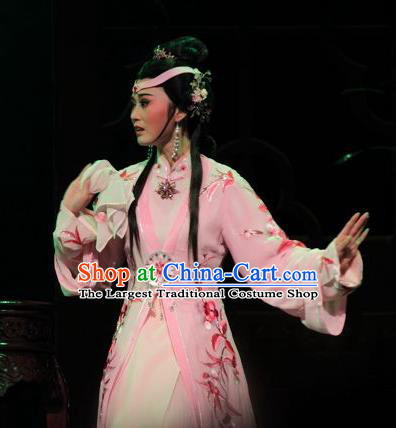 Chinese Shaoxing Opera Young Female Feng Jie Apparels Costumes and Headdress Yue Opera Noble Consort Pink Dress Garment