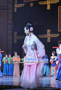Chinese Opera Ten Mile Dowry Traditional Wedding Costumes and Headdress Yue Opera Young Lady Dress Maiden Garment Apparels