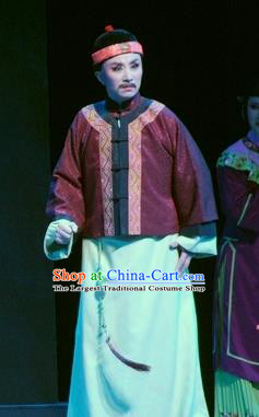 Chinese Yue Opera Qing Dynasty Middle Age Man Costumes and Hat Shaoxing Opera Ban Ba Jan Dao Apparels Garment