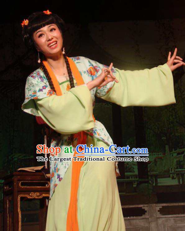 Chinese Shaoxing Opera Young Lady Costumes and Hair Accessories Lions Roar Yue Opera Xiaodan Dress Apparels Servant Girl Garment