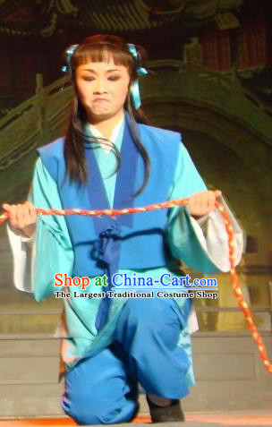 Lions Roar Chinese Yue Opera Young Servant Costumes and Headwear Shaoxing Opera Livehand Blue Garment Apparels