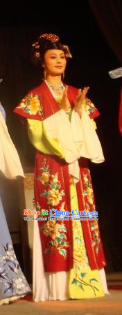 Chinese Shaoxing Opera Rich Lady Costumes and Headpieces Lions Roar Yue Opera Hua Tan Apparels Diva Red Dress Garment