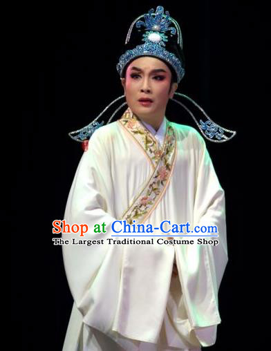 Lions Roar Chinese Yue Opera Young Male Costumes and Headwear Shaoxing Opera Scholar Chen Zao Garment Apparels White Robe