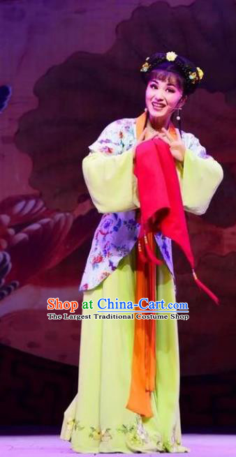 Chinese Shaoxing Opera Servanr Girl Costumes and Headpieces Lions Roar Yue Opera Xiao Dan Young Lady Dress Apparels Garment
