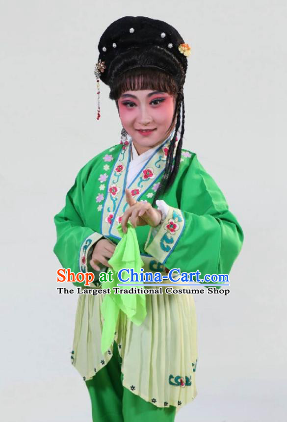 Chinese Shaoxing Opera Xiao Dan Green Garment Costumes and Headpieces Lions Roar Yue Opera Servant Woman Dress Apparels
