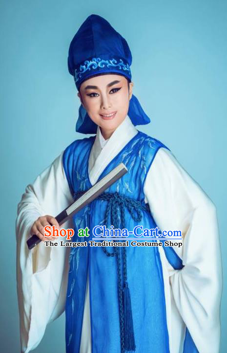 Chinese Yue Opera Chunh Yang Young Male Costumes and Headwear Shaoxing Opera Scholar Li Menglong Garment Apparels Blue Robe