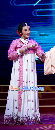 Chinese Shaoxing Opera Young Female Chun Xiang White Hanbok Apparels and Headpiece Chunh Yang Yue Opera Geisha Dress Korean Garment Costumes