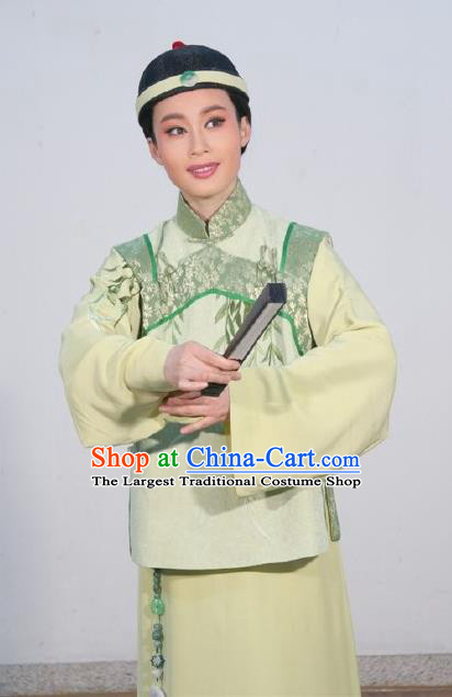 Chinese Yue Opera Young Male Costumes and Headwear Shaoxing Opera Ban Ba Jan Dao Apparels Qing Dynasty Childe Xu Tianci Garment Clothing