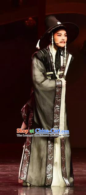 Chinese Yue Opera Official Black Costumes and Headwear Shaoxing Opera Chunh Yang Male Bian Xuedao Korean Garment Apparels