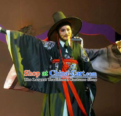 Chinese Yue Opera Male Bian Xuedao Korean Garment Costumes and Headwear Shaoxing Opera Chunh Yang Official Black Apparels