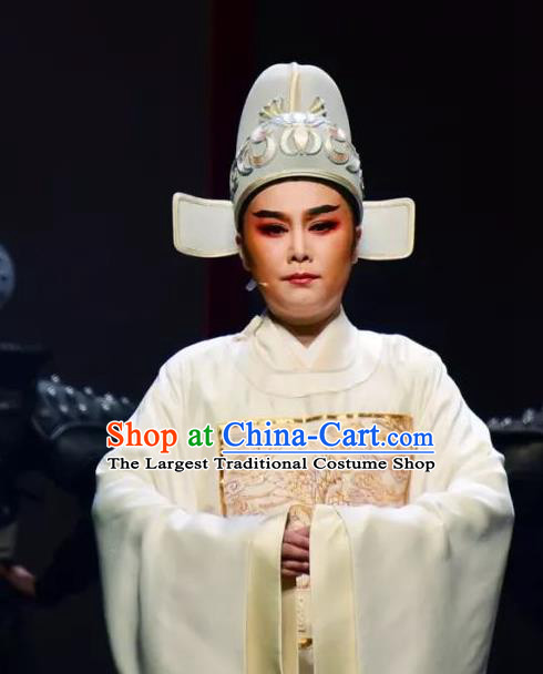 Chinese Yue Opera Young Man Li Menglong Garment Costumes and Headwear Shaoxing Opera Chunh Yang Scholar Apparels Official White Embroidered Robe