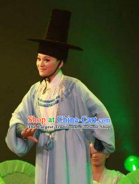 Chinese Yue Opera Young Male Costumes and Hat Shaoxing Opera Chunh Yang Xiao Sheng Niche Apparels Garment
