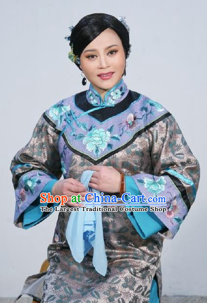 Chinese Shaoxing Opera Elderly Woman Apparels Costumes and Headpieces Ban Ba Jan Dao Yue Opera Dress Rich Consort Garment