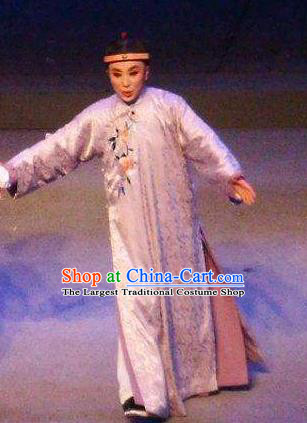 Chinese Yue Opera Qing Dynasty Young Man Costumes and Headwear Shaoxing Opera Ban Ba Jan Dao Apparels Childe Garment