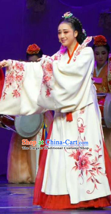 Chinese Shaoxing Opera Korean Geisha Hanbok Garment Apparels and Headdress Chunh Yang Yue Opera Young Female Chun Xiang Dress Costumes