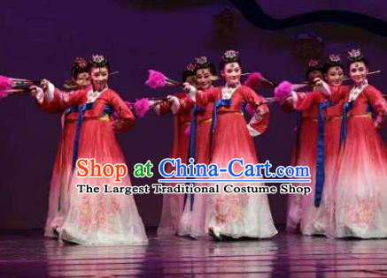 Chinese Shaoxing Opera Geisha Red Korean Hanbok Apparels and Headdress Chunh Yang Yue Opera Young Female Dress Costumes Garment