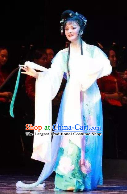 Chinese Shaoxing Opera Hua Tan Apparels and Headdress The Romance of West Chamber Yue Opera Young Female Dress Cui Yingying Garment Costumes