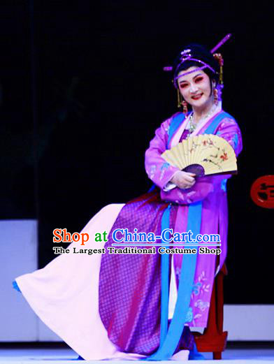 Chinese Shaoxing Opera Elderly Woman Purple Apparels Costumes and Headpieces Liu Yong Yue Opera Procuress Dress Garment