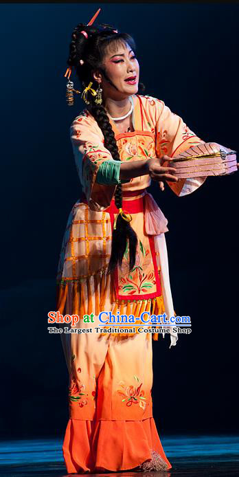 Chinese Shaoxing Opera Fisher Maiden Costumes and Hair Accessories Yue Opera Hua Tan Hai Ming Zhu Actress Garment Dress Apparels