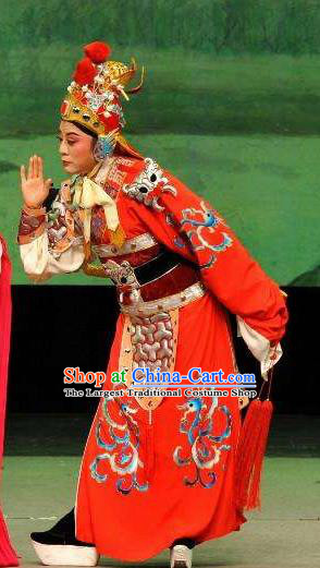 Chinese Yue Opera Martial Male Apparels and Headwear From Love to Patriotism Deliver the Messenger Shaoxing Opera Takefu Wusheng Garment Costumes