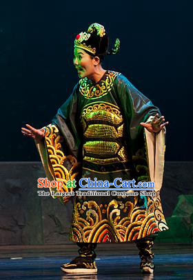 Chinese Yue Opera Chou Role Costumes and Headwear Hai Ming Zhu Shaoxing Opera Elderly Male Garment Turtle Prime Minister Apparels