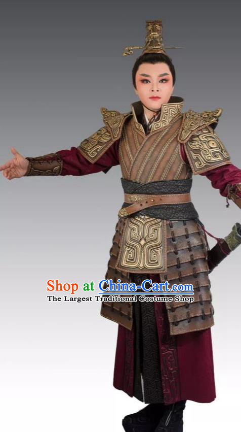 Chinese Yue Opera Wusheng Apparels Costumes and Headpieces From Love to Patriotism Deliver the Messenger Shaoxing Opera General Armor Garment