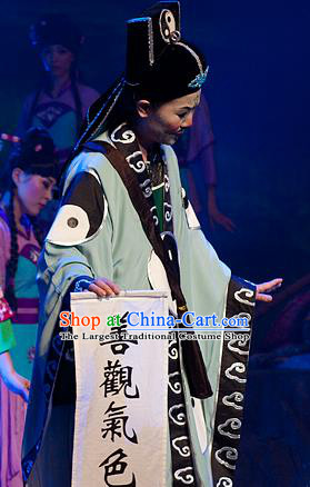 Chinese Yue Opera Taoist Chou Role Costumes and Hat Hai Ming Zhu Shaoxing Opera Elderly Male Garment Apparels