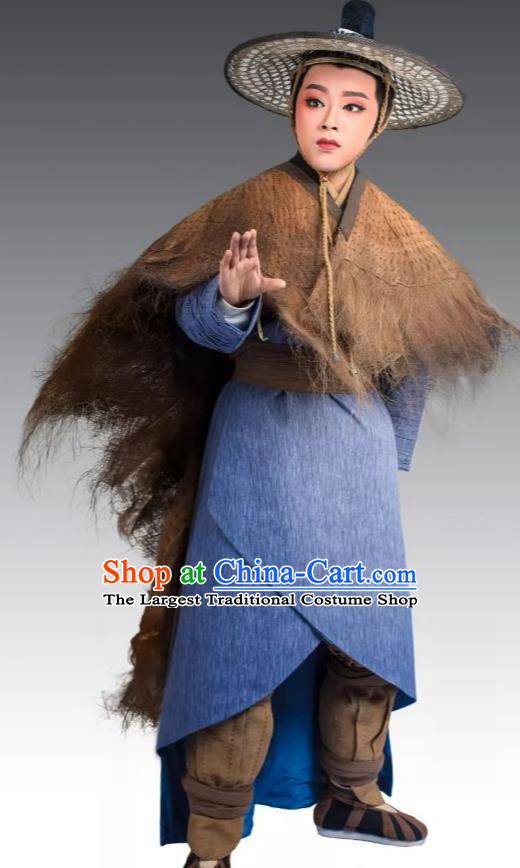 Chinese Yue Opera Young Male Apparels Costumes and Bamboo Hat From Love to Patriotism Deliver the Messenger Shaoxing Opera Xiaosheng Garment