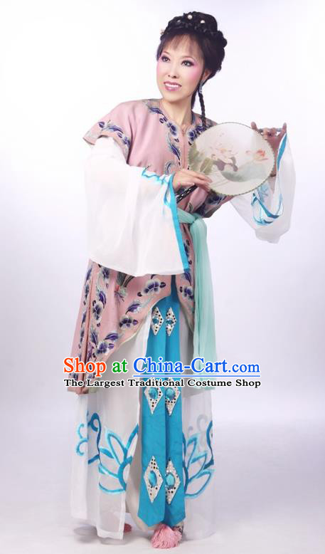Chinese Shaoxing Opera Xiaodan Dress Apparels and Headdress From Love to Patriotism Deliver the Messenger Yue Opera Young Lady Garment Costumes