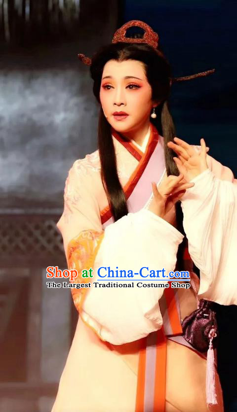 Chinese Shaoxing Opera Hua Tan Hanfu Dress Apparels Costumes and Headdress From Love to Patriotism Deliver the Messenger Yue Opera Noble Consort Mian Jiang Garment