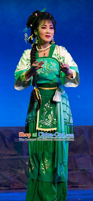 Chinese Shaoxing Opera Princess Costumes and Headpieces Yue Opera Hua Tan Hai Ming Zhu Actress Apparels Garment Green Dress