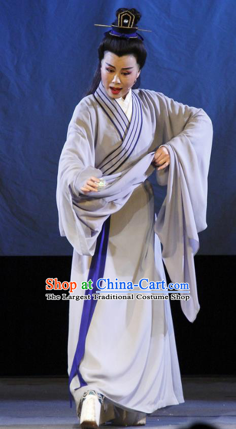 Chinese Yue Opera Scholar Liu Yi Costumes and Headwear The Princess Messenger Farewell at Lakeside Shaoxing Opera Xiaosheng Young Male Robe Garment Apparels