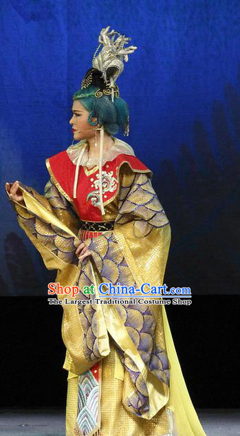 Chinese Shaoxing Opera Dragon Queen Dress and Headdress The Princess Messenger Farewell at Lakeside Yue Opera Elderly Female Garment Apparels Costumes