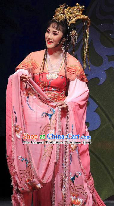 Chinese Shaoxing Opera Hua Tan Dress Costumes and Headdress The Princess Messenger Farewell at Lakeside Yue Opera Dragon Princess San Niang Garment Apparels