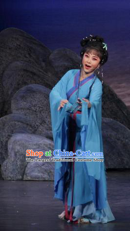 Chinese Shaoxing Opera Shepherdess Blue Dress Costumes and Headpieces The Princess Messenger Farewell at Lakeside Yue Opera Hua Tan San Niang Apparels Garment