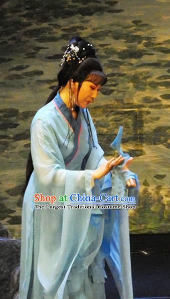 Chinese Shaoxing Opera Young Lady Blue Dress Costumes and Hair Accessories The Princess Messenger Farewell at Lakeside Yue Opera Hua Tan Garment Apparels
