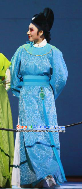 Liu Yong Chinese Yue Opera Young Male Blue Robe Garment and Hat Shaoxing Opera Scholar Poet Costumes Apparels