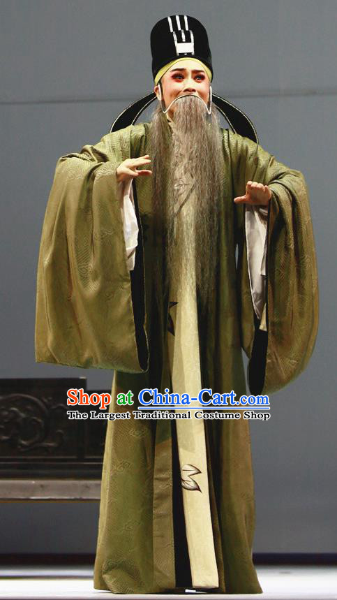 Liu Yong Chinese Yue Opera Elderly Man Garment and Headwear Shaoxing Opera Lao Sheng Costumes Apparels Old Man Official Clothing