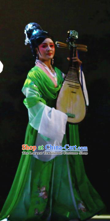 Chinese Shaoxing Opera Courtesan Young Female Green Dress and Headdress Yue Opera Liu Yong Hua Tan Actress Garment Apparels Costumes