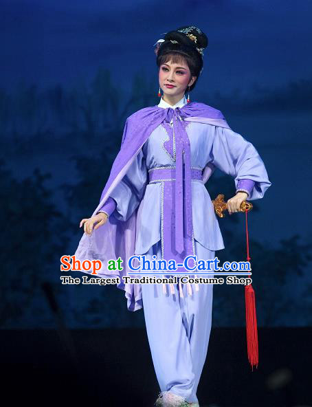 Chinese Shaoxing Opera Wudan Purple Dress Garment and Hair Accessories Yue Opera Zhuang Yuan Da Geng Martial Female Liu Chanjin Apparels Costumes
