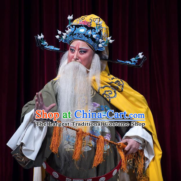 Zhuang Yuan Da Geng Chinese Yue Opera Elderly Male Garment and Headwear Shaoxing Opera Laosheng Costumes Apparels Prime Minister Embroidered Robe