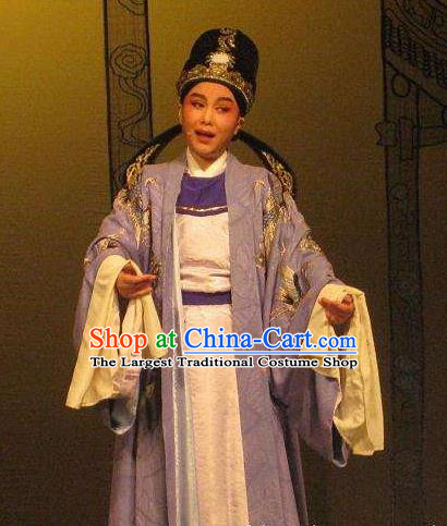 Chinese Classical Yue Opera Scholar Apparels Costumes and Headwear Dao Guan Qin Yuan Shaoxing Opera Xiaosheng Young Male Pan Bizheng Garment Clothing