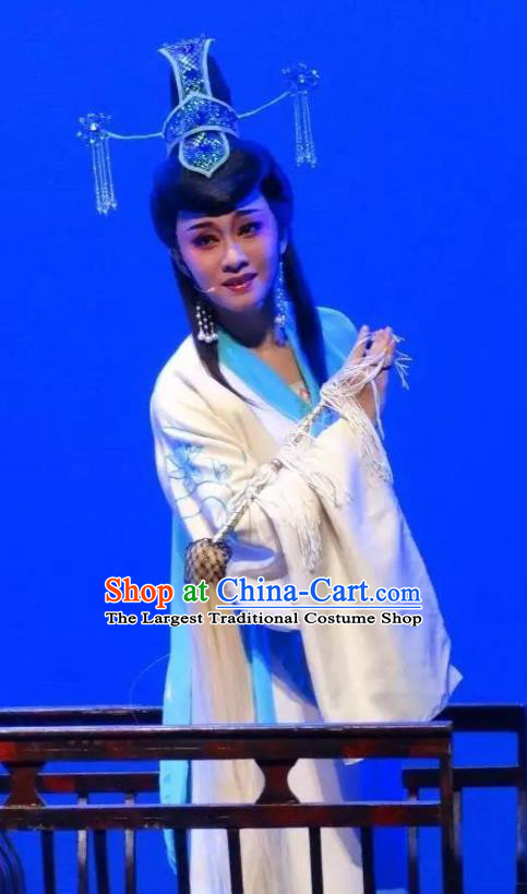 Chinese Shaoxing Opera Actress Taoist Nun Costumes and Headdress Yue Opera Dao Guan Qin Yuan Garment Hua Tan Chen Miaochang Dress Apparels