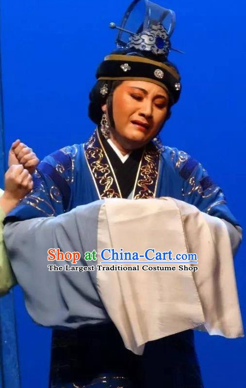 Chinese Shaoxing Opera Old Dame Costumes and Headdress Yue Opera Dao Guan Qin Yuan Garment Taoist Nun Dress Elderly Female Apparels