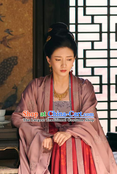 Chinese Ancient Court Empress Cao Danshu Historical Costumes and Headpieces Drama Serenade of Peaceful Joy Song Dynasty Queen Dress Apparels